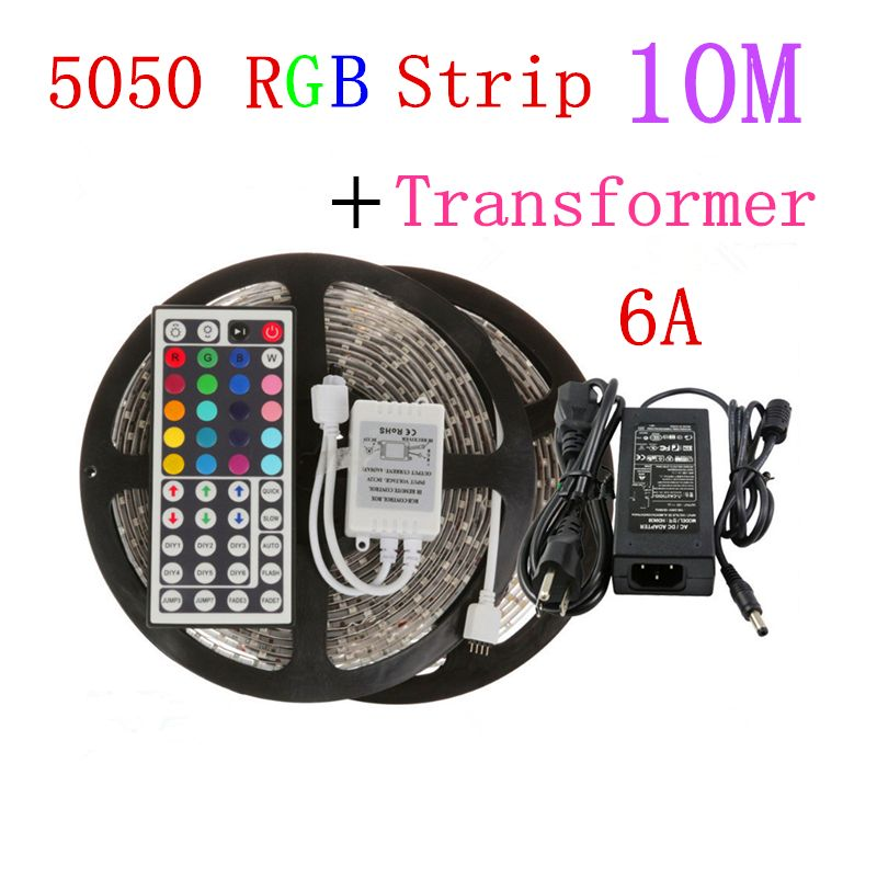 10M 2*5m 5050 LED Strip Waterproof RGB Warm White Cool White + 44Key Remote +6A Transformer for Home Party Decoration Lights