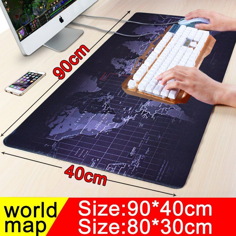 900x400 large worldmap gaming mouse pad locking edge non-slip computer player Keyboard table Mat for players