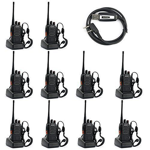 Baofeng BF-888S Two Way Radio (Pack of 10) and USB Programming Cable (1PC)+earpiece+ Russia-Moscow Stock