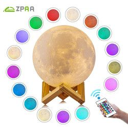 3D impresión Luna lámpara recargable 16/2 cambio de Color Touch Switch dormitorio noche luz Lunar regulable bebé Nightlight decoración del hogar