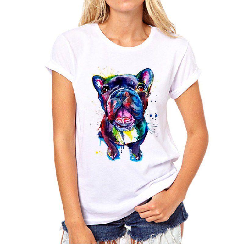 Vente chaude Teinté de chien imprimé femme t-shirt d'été Bouledogue/Great dane Imprimer Tops Mode Fille T-shirt T-shirt femme 97N-1 #