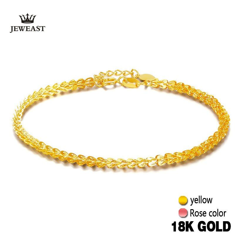 18k Pure Gold Women Bracelet Yellow Rose Girl Genuine Real Solid 750 Gift Female Bangle Upscale Hot Sale 2017 New Party Trendy
