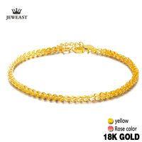 Pulsera de oro puro de 18 K para mujer, rosa amarilla, auténtica, sólida, 750, brazalete femenino, gran venta, nueva moda para fiesta 2017