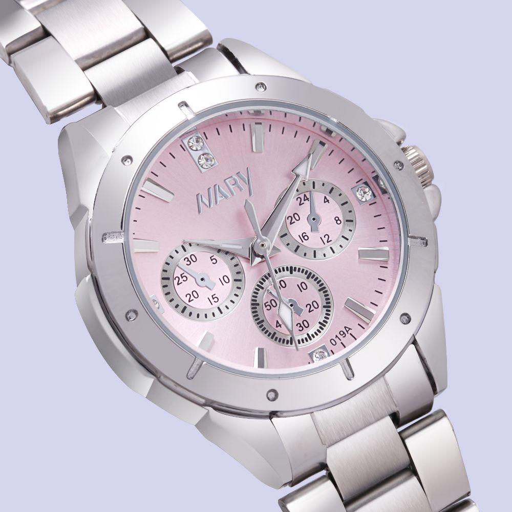 NARY reloj de lujo en moda mujer Reloj Mujer Calidad de Diamantes Señoras Reloj de Cuarzo Mujeres Rhinestone Relojes de Acero Inoxidable