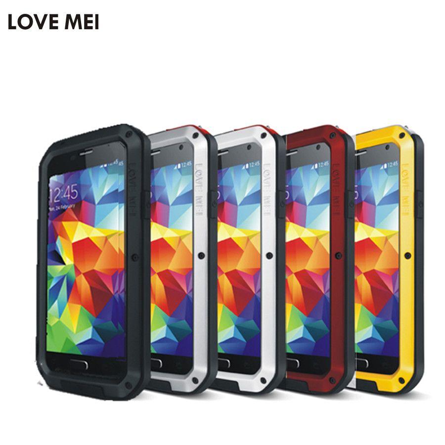 AMOUR MEI Vie résistant à L'eau Boîtier Métallique pour SAMSUNG Galaxy S6 S7 Bord Plus S8 S9 S10 Plus Note 8 9 A6 A8 A9s Plus