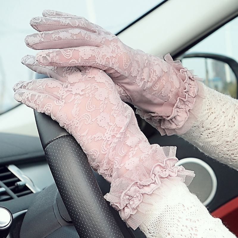 Pur coton crème solaire gants femmes mince printemps et automne anti-ultraviolet élasticité anti-dérapant respirant été équitation en plein air