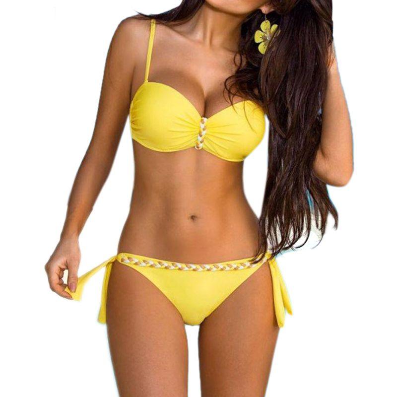 Jaune Dos Nu Bandeau Maillots De Bain Bikini Brésilien 2018 Push Up Bikini Ensemble Femmes Sexy Solide Grande Taille Maillot De Bain Maillots de bain 3XL