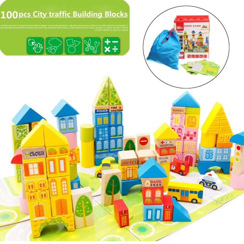 100PCS DIY City Building Blocks Bricks Educational Toys Hobbies For Child Kids City Building Blocks kits Compatible with Legoing