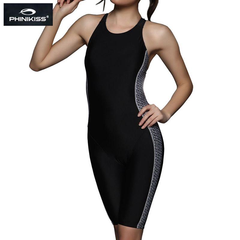PHINIKISS genou longueur noir course une pièce maillot de bain femmes Triathlon une pièce costume grande taille maillots de bain femme professionnel 2018