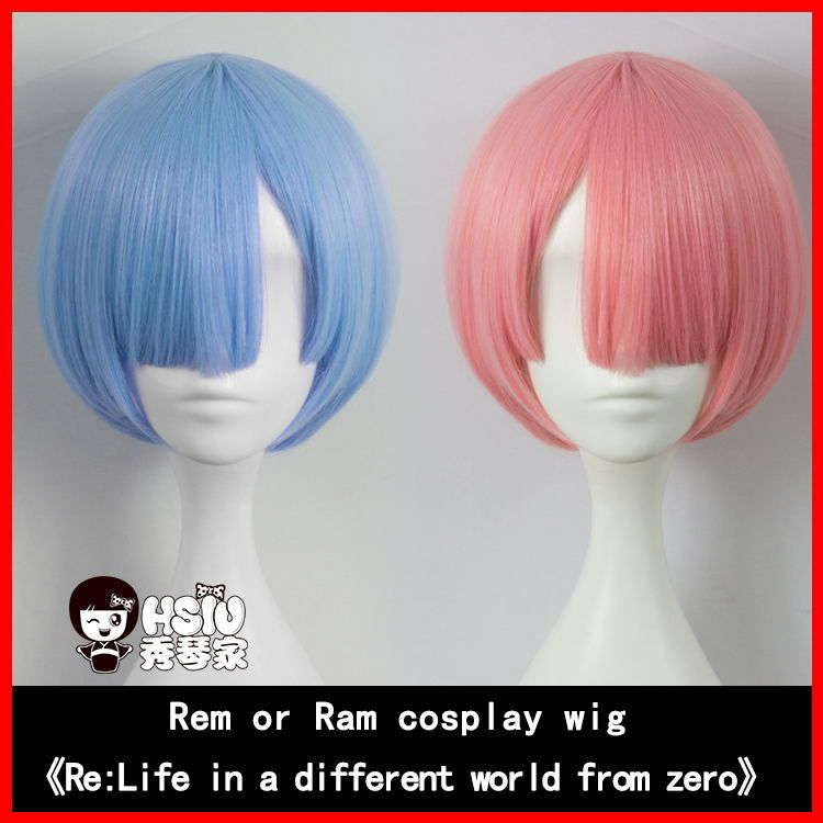 HSIU NEW Pure color REM cosplay wig or RAM cosplay wigs Re:<font><b>Zero</b></font> Starting Life in Another World Costume play Halloween costumes