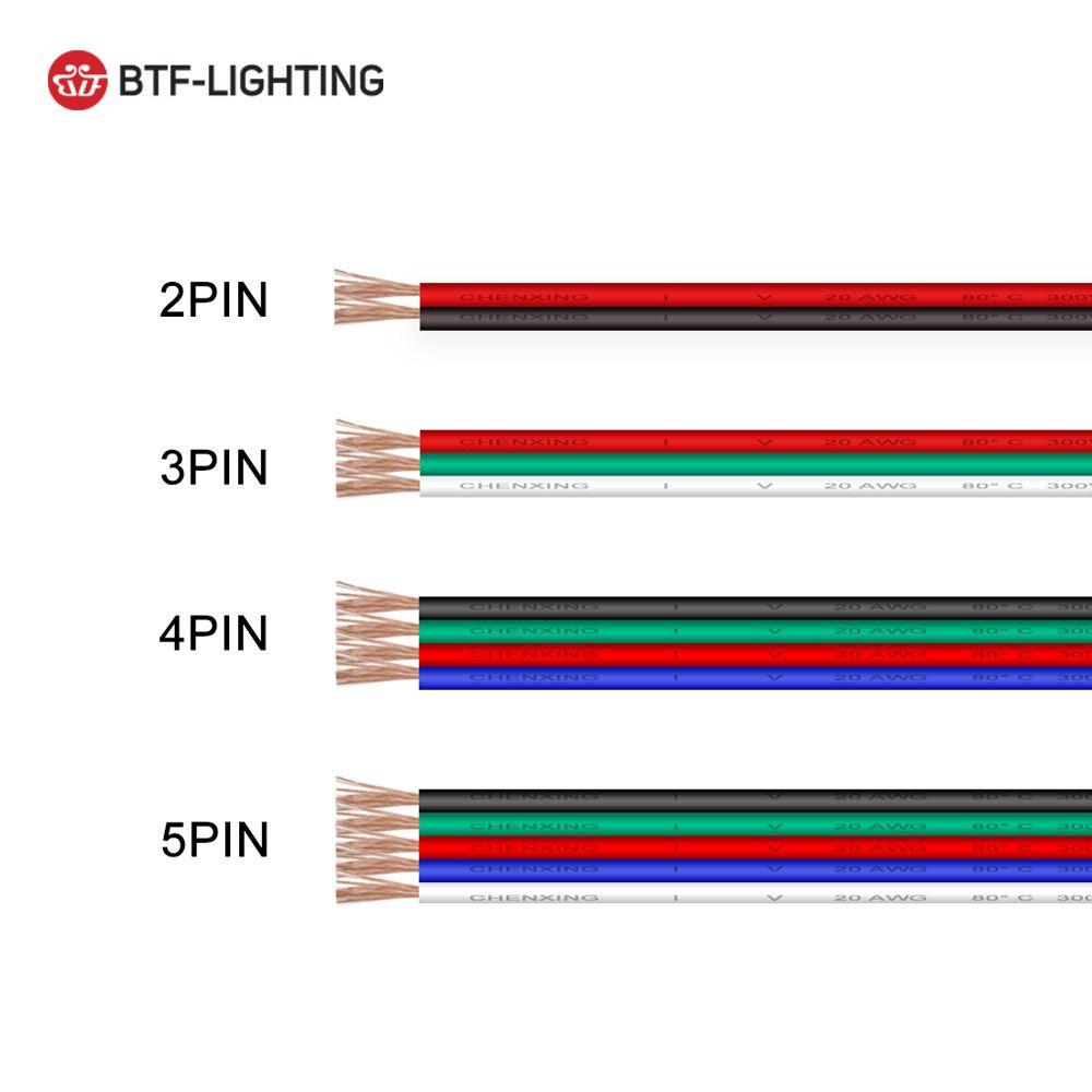 10 m/20 m/50 m/100 m 22/20/18AWG LED fil de câble 2/3/4/5pin fil pour WS2812 WS2811 RGB LED lumière de Module de Pixel de bande