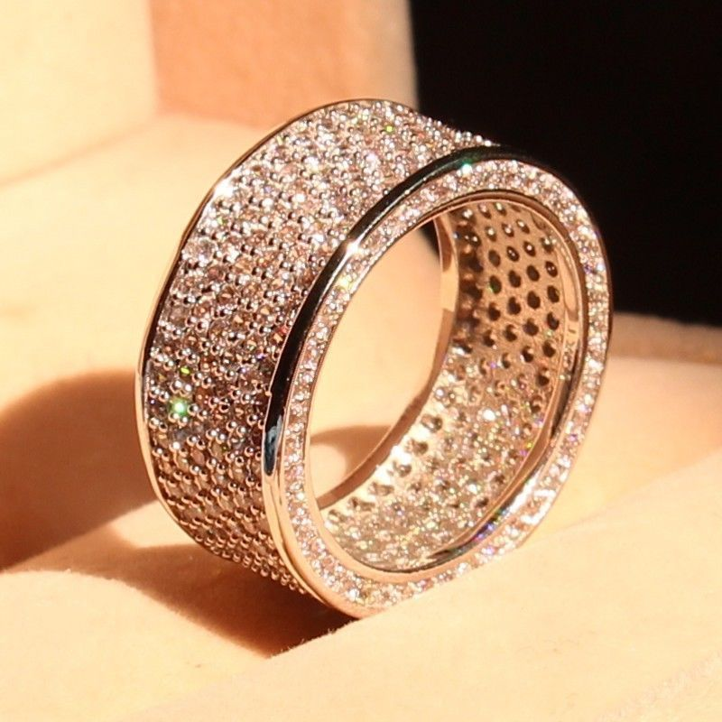 Full Big promotion Luxury 320pc 5A CZ 10kt white gold filled Wedding Circle Women Engagement Pave Ring christmas gift Size 5-11