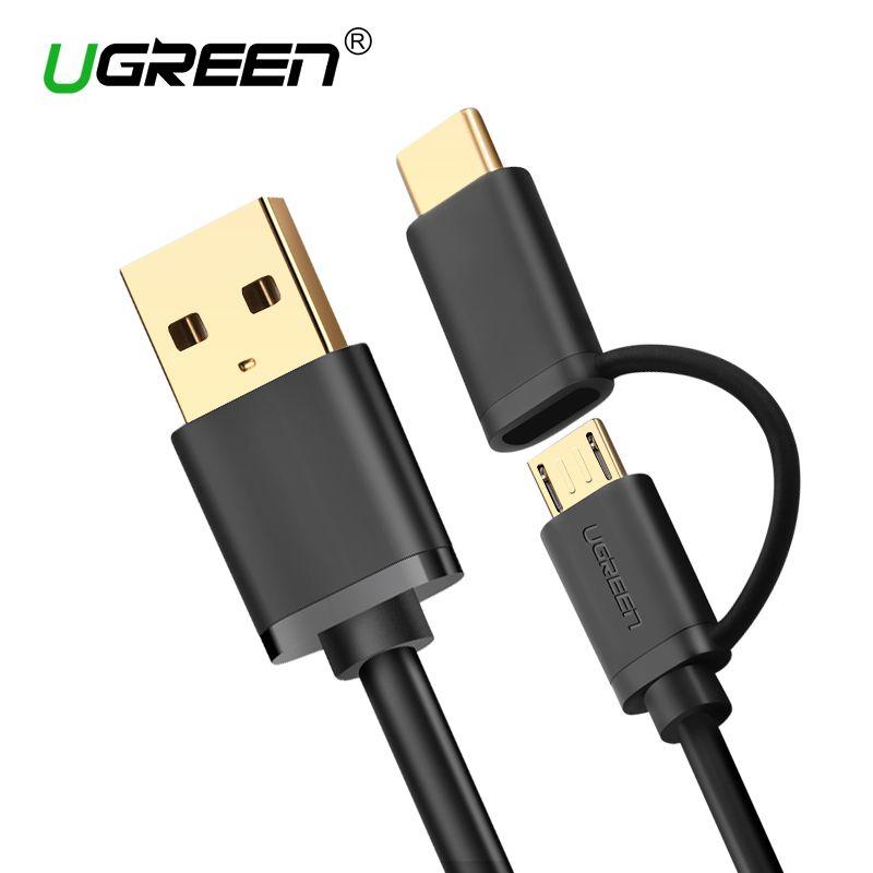 Ugreen Micro-usb-kabel für Samsung 2 in 1 USB Typ C Kabel schnelle Ladegerät Daten USB C Kabel für Xiaomi 4C Nexus 5X6 P Android telefon