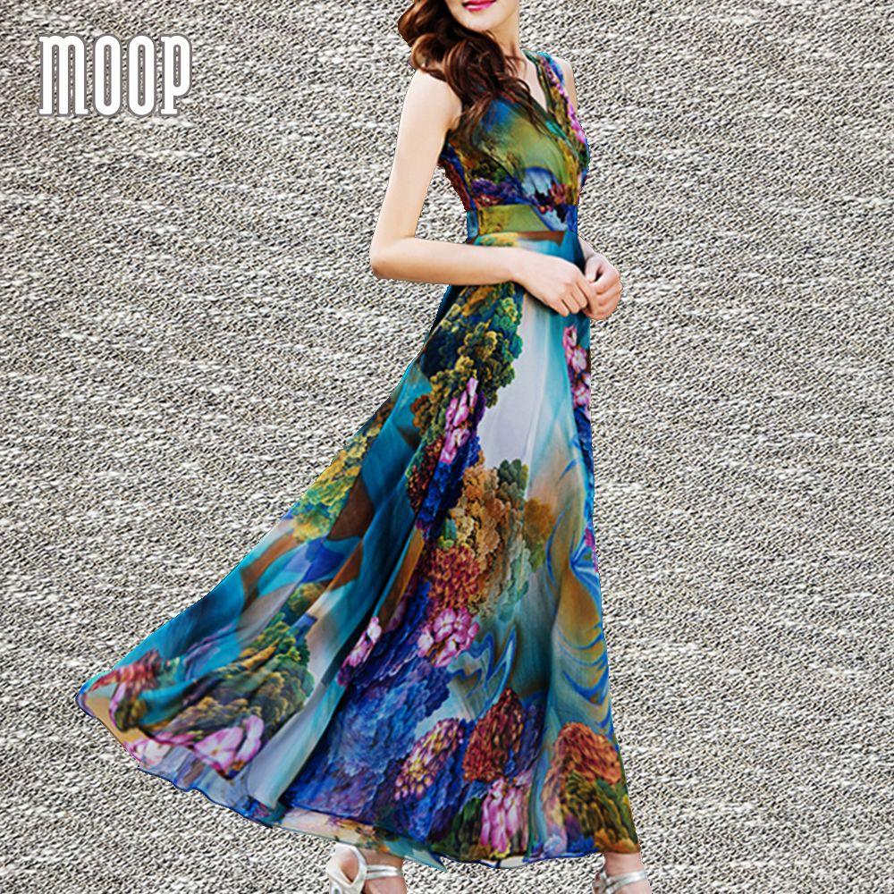 Yellow blue floral print bohemian dress summer fit waist flare long chiffon beach holiday sundress vestidos mujer robe LT1474