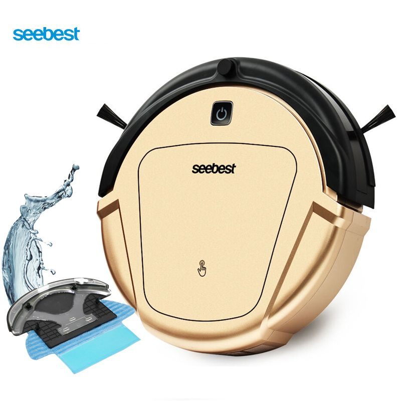 Seebest D750 TURING 1.0 Dry and Wet Mop Vacuum Clean <font><b>Robot</b></font> with Water Tank and Gyroscope Zigzag Clean Route, Russia Warehouse