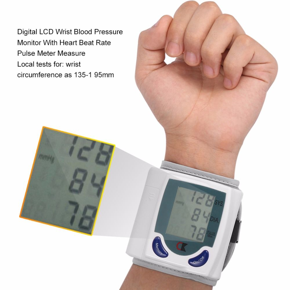 Health Care Automatic Sphygmomanometer Digital Wrist Blood Pressure Monitor for Measuring Heart Beat Pulse Rate DIA tonometer