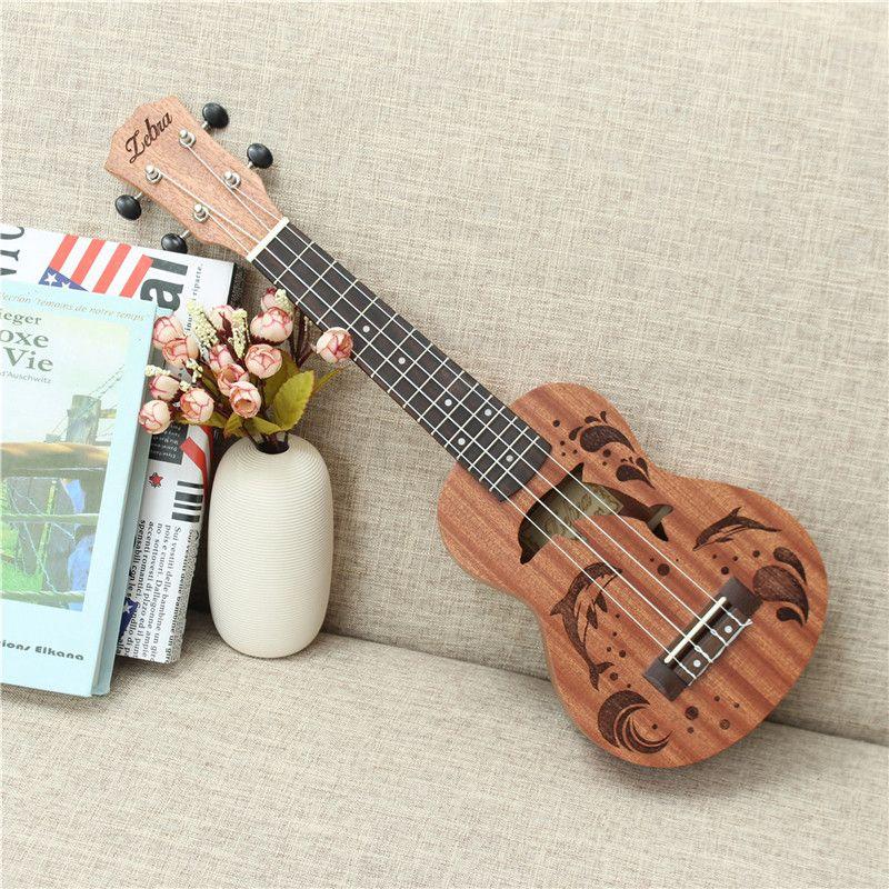 Zebra 21 inch 15 Frets Soprano Ukulele Uke 4 Nylon Strings Sapele Rosewood Guitar Dolphin Pattern Universal Acoustic Instrument