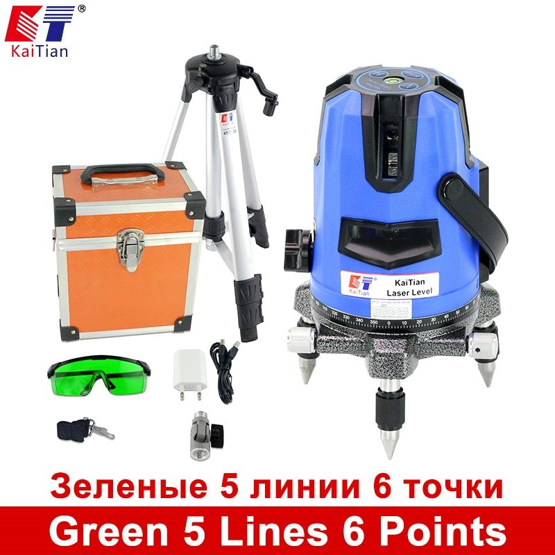 KaiTian 5 Lines 6 Points Green Laser Level Laser Lines Tripod Outdoor Tilt Function 532nm Lazer Level Self Leveling Cross Level