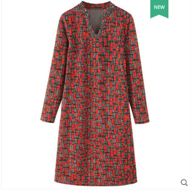 Large size women's dress 2018 autumn winter new fat mm V collar nail bead waist block belly print dress