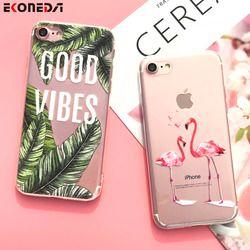 EKONEDA Étui En Silicone Pour iPhone 7 7 Plus 6 6 S 6 Plus 5 5S SE Cas Tpu Couverture Fleur Feuilles Oiseau Pour l'iphone 6 S 8 Plus X