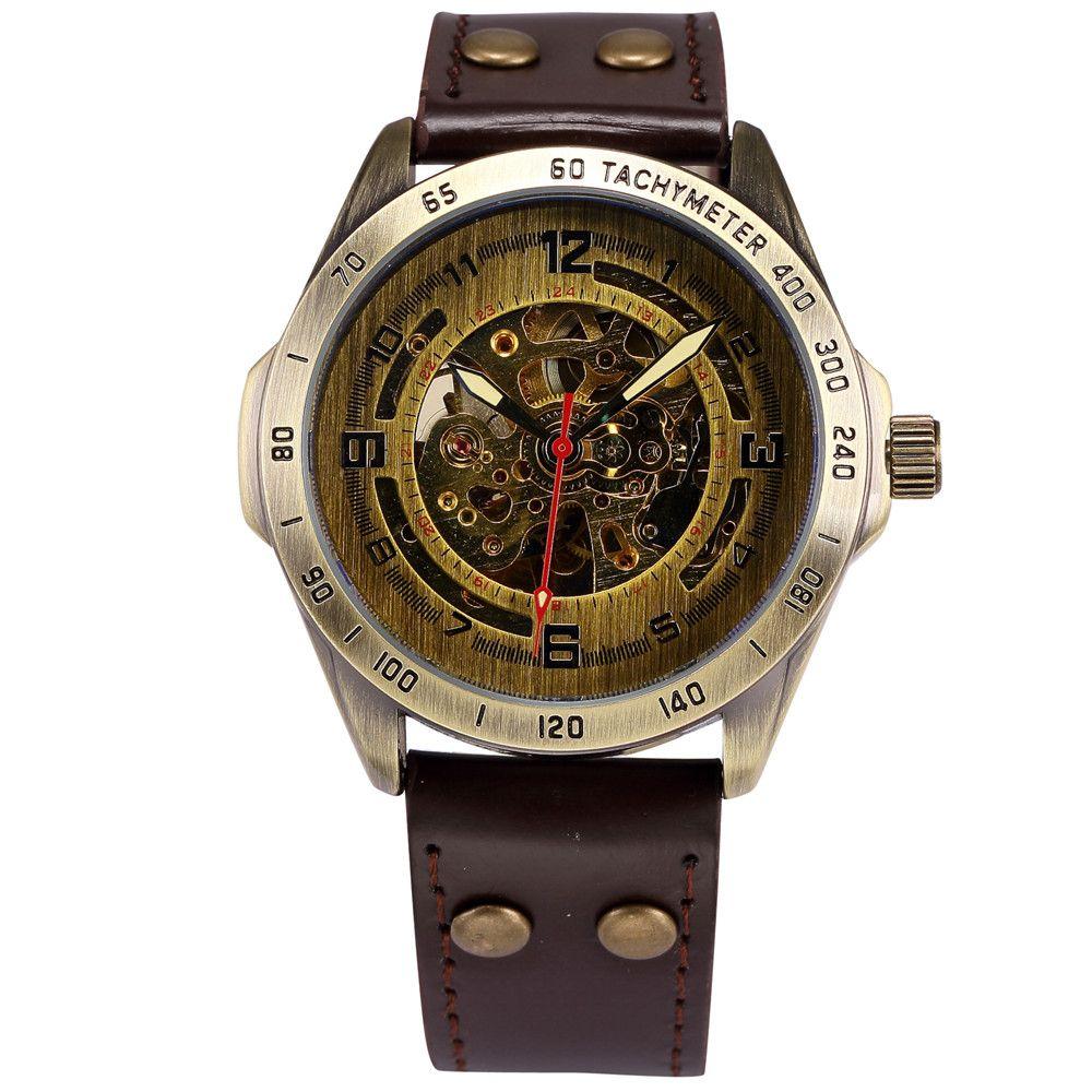 SHENHUA Clock Men Retro Bronze Case <font><b>Wristwatch</b></font> Male Automatic Mechanical Skeleton Watch Vintage Wrist Watch Relogio Masculino