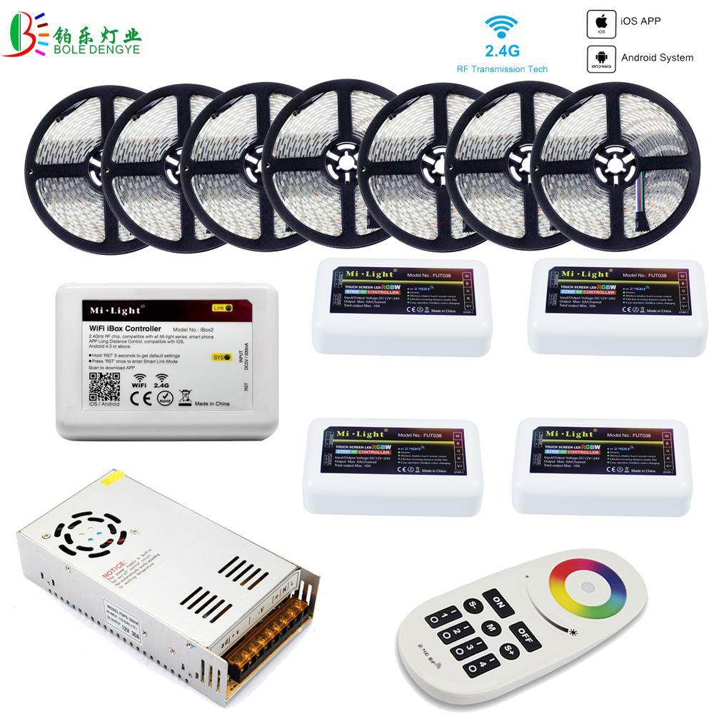 5050 RGBW WIFI LED Strip Waterproof 40M 20M 10M RGBWW LED Tape+ Mi Light WIFI Smart Controller RF 4 Zones Remote +Power Supply