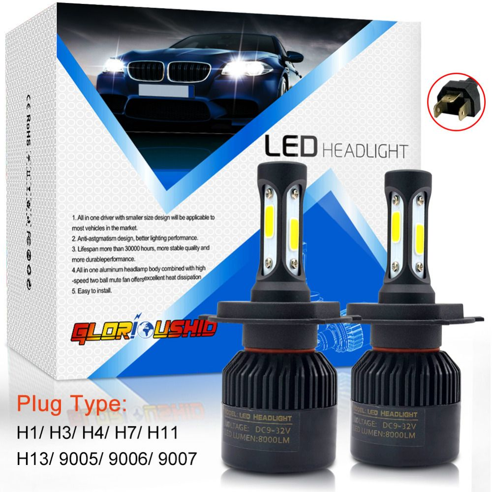 72W 8000LM H7 H4 LED H11 H1 H3 H13 9005 9006 9007 Car LED Headlight Auto light Fog Lamp Bulb 6500k Pure White