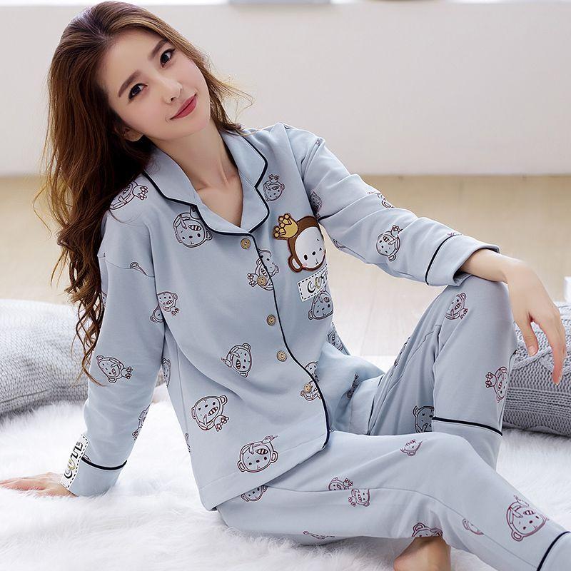 Осень 2017 г. Новое поступление женские хлопчатобумажные пижамы длинные рукава рубашки из двух частей Большие размеры V шеи дышащий Пижама до...