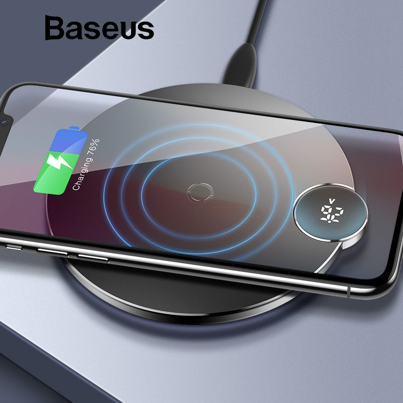 Baseus LED Digital Display Wireless Charger for iPhone XS Max XR X 8 Qi Wireless Charging Pad for Samsung Galaxy S8 S9+ Note 9 8