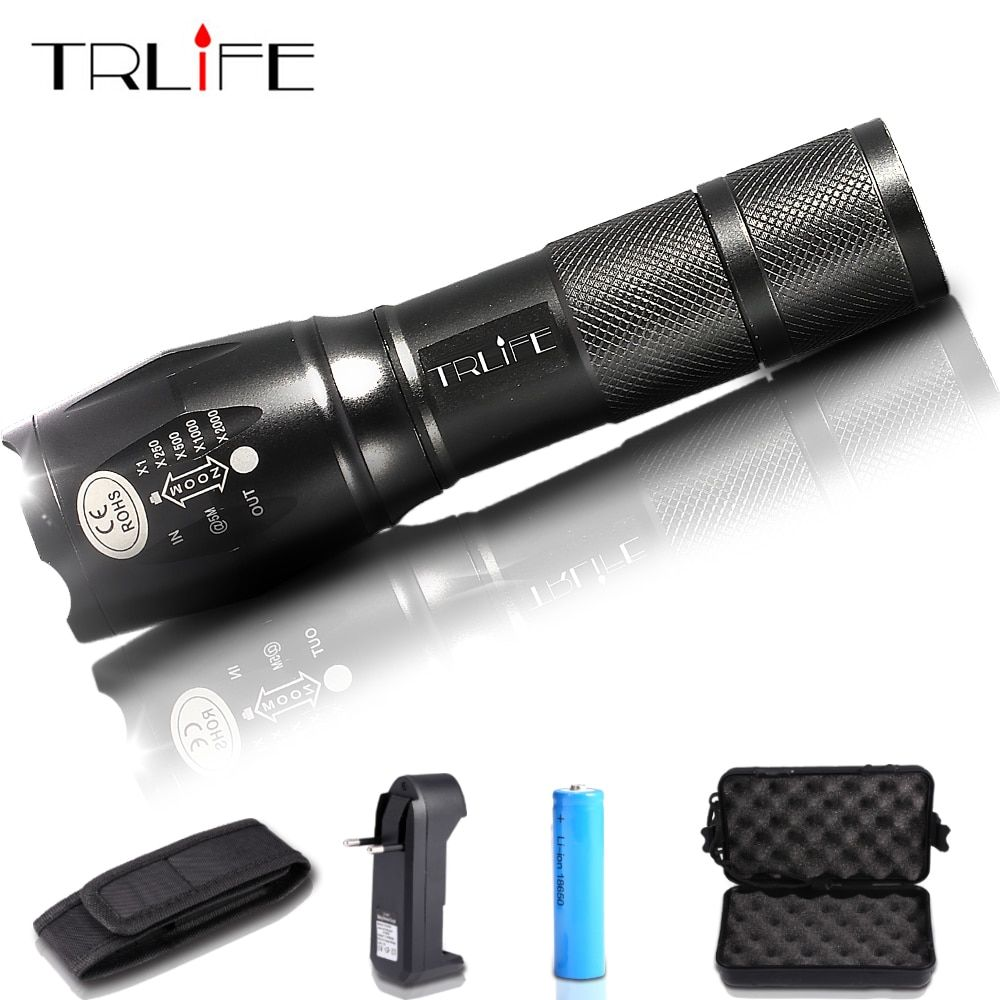 LED Flashlight Zoom Torch Waterproof 18650 Flashlights XM-L L2/T6 8000LM 5 Mode Led Zoomable Light For 3x AAA or 3.7v Battery