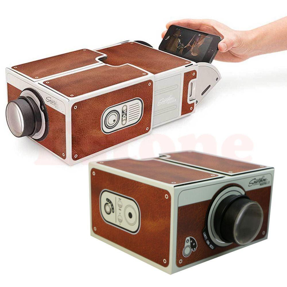 Портативный картона смартфон проектор 2.0/собраны телефон проектор Кино Прямая доставка