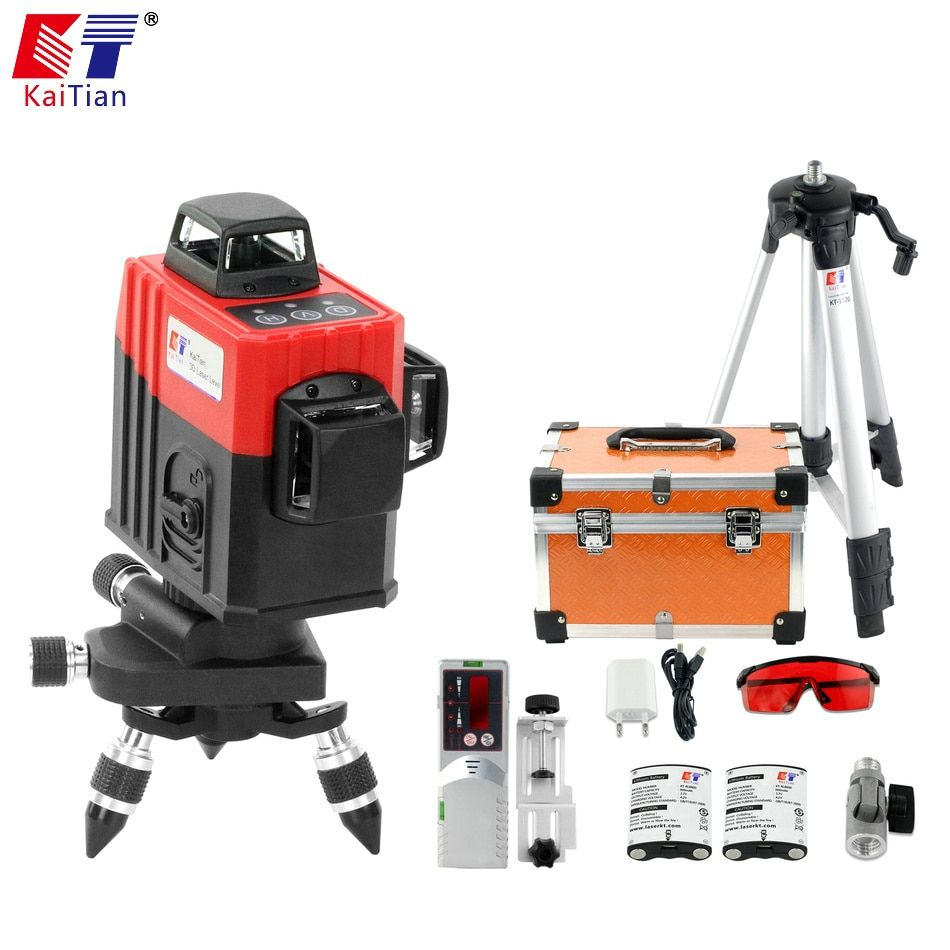 KaiTian 12 Lines 3D Laser Level Tripod Red Vertical 360 Horizontal Self-Leveling Cross Professional Laser Beam Nivel Level Tools
