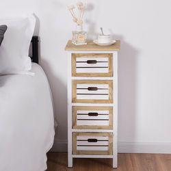 Giantex Dada Kayu Meja Samping Tempat Tidur Moderen Meja Kabinet Sisi Akhir Meja dengan 4 Laci Bedroom Mebel HW57054
