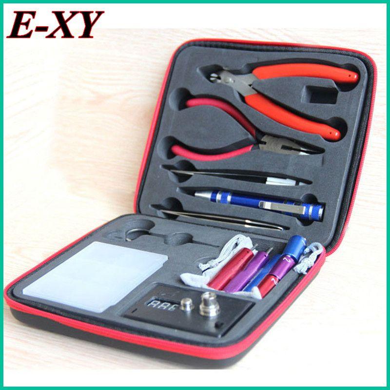 E-XY zauberstab CW werkzeug spule vape Komplette kit e-cig master 6 IN 1 DIY jig vape werkzeugsatz PE Box ecig rda tool kit zerstäuber spule