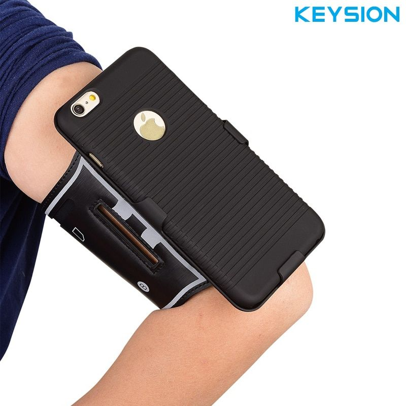 KEYSION Outdoor Running Sports  Phone Armband Arm Band Case Cover with Belt Clip For iPhone 6 6S Plus 6SPlus Armbands Phone Case