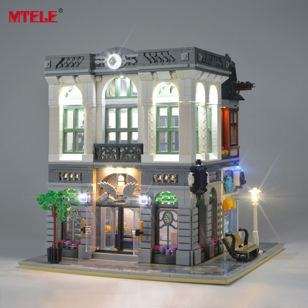 MTELE LED Light Up Kit For Creator Brick Bank Building Block Light Set Compatible With 10251 And 15001 (Not Include Model)