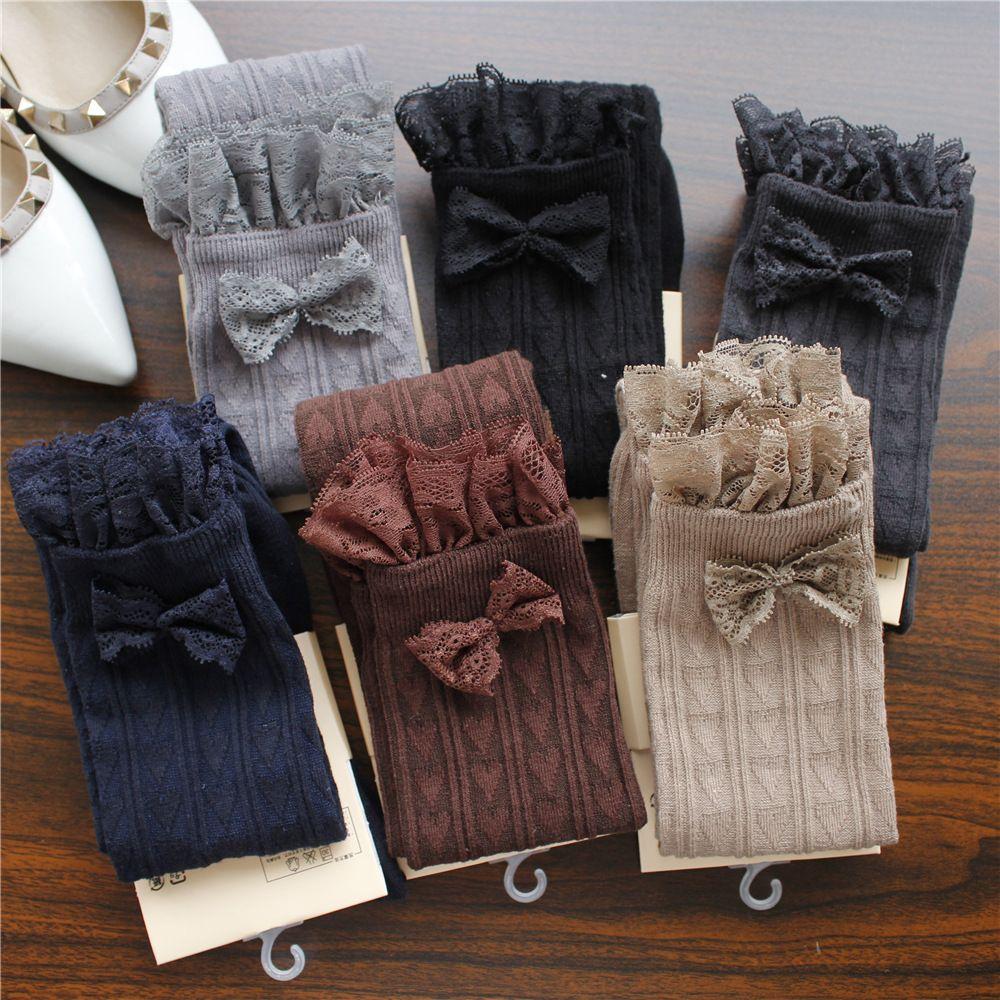 Printemps Automne Hiver Chaud Bas nœud en dentelle Japonais Cuisse Haute Bas Filles Kawaii chaussettes de genou Coeur Imprimé Haute Stocks