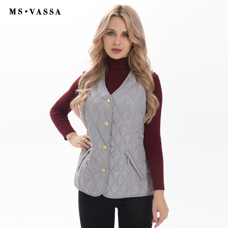 MS VASSA Women vest fashion Spring Female waistcoat <font><b>padded</b></font> sleeveless jacket lady casual brand outerwear plus size 5XL 7XL
