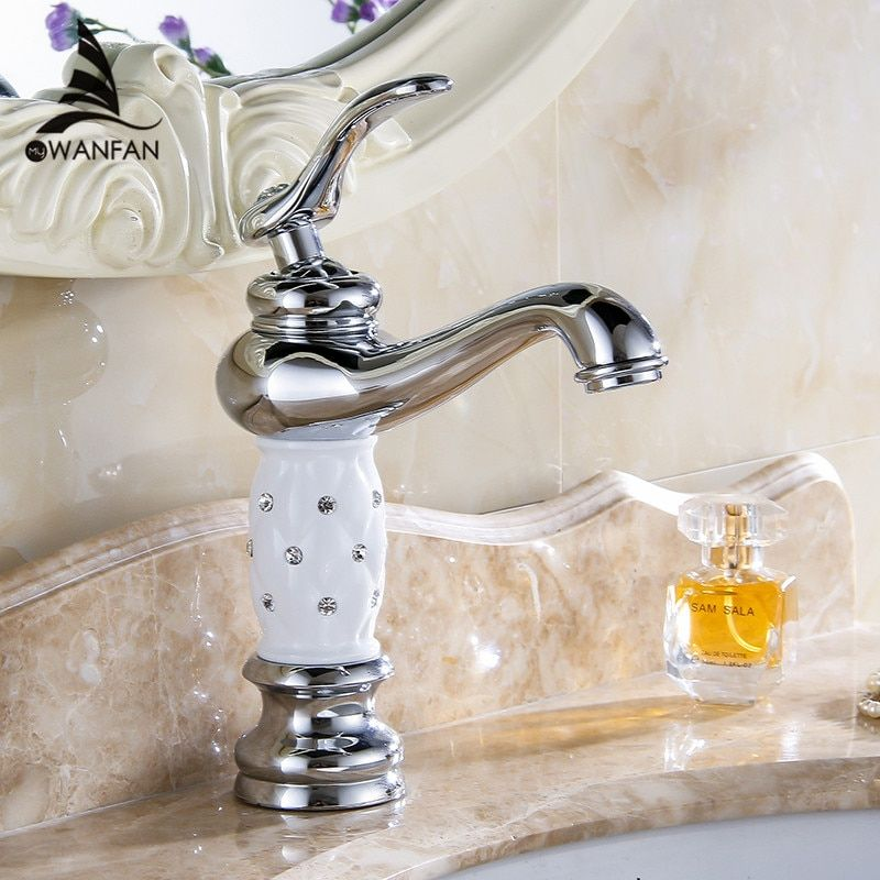 Basin Faucets Chrome Bathroom Sink Faucet Creative Design Crystal <font><b>Deck</b></font> Mounted Hot and Cold Water Single Hole Mixer Taps 815L