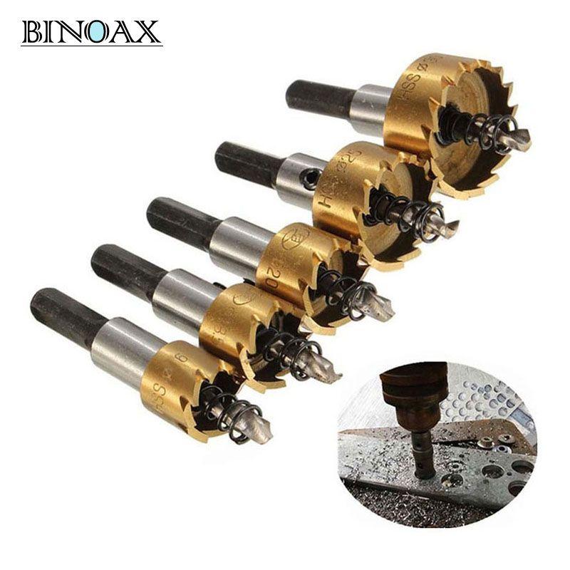 Binoax 5 Pcs Carbide Tip HSS Drill Bit Saw Set Metal Wood Drilling Hole Cut <font><b>Tool</b></font> for Installing Locks 16/18.5/20/25/30mm
