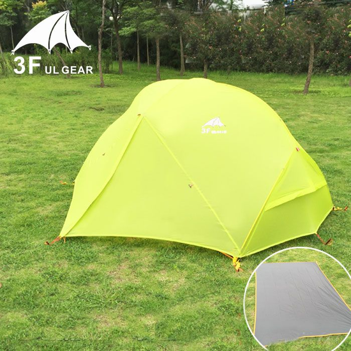 Ultralight 2 person use 210T high quality waterproof windproof camping double layer tent with bottom mat