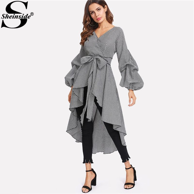 Sheinside Plaid Dress Gathered Long Sleeve Belt Curved Dip Hem Gingham Dress 2018 Summer Women Office Asymmetrical A Line Dress