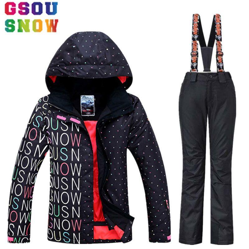 Gsou Snow Brand Водонепроницаемый лыжный костюм Для женщин лыжная куртка Брюки для девочек зимняя куртка сноуборд Брюки для девочек Горлолыжный С...