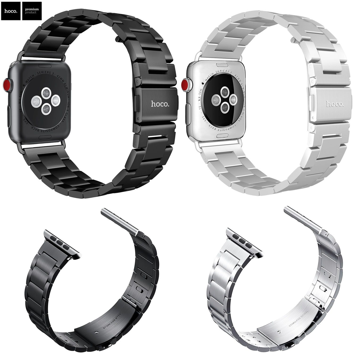 HOCO Sport Strap for Apple Watch Band 38mm 42mm iWatch 3 2 1 Stainless Steel Wrist Band Link Bracelet Watch Band Strap