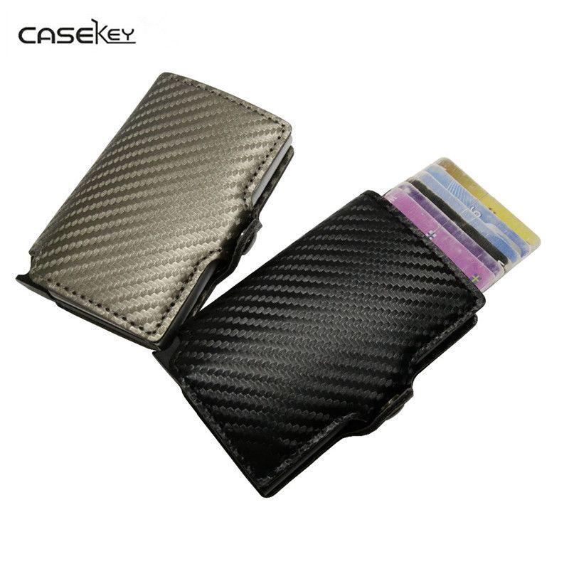 Casekey противоугонные мини кошелек высокое качество углерода ПУ тонкий кожаный бумажник Для мужчин кожа RFID мини кошелек Автоматическая креди...