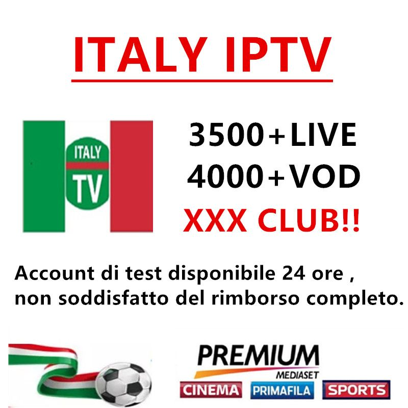 Italy IPTV M3U subscription IPTV for 3500+channels mediaset premium support Android ios smart tv mag250 pc enigma2