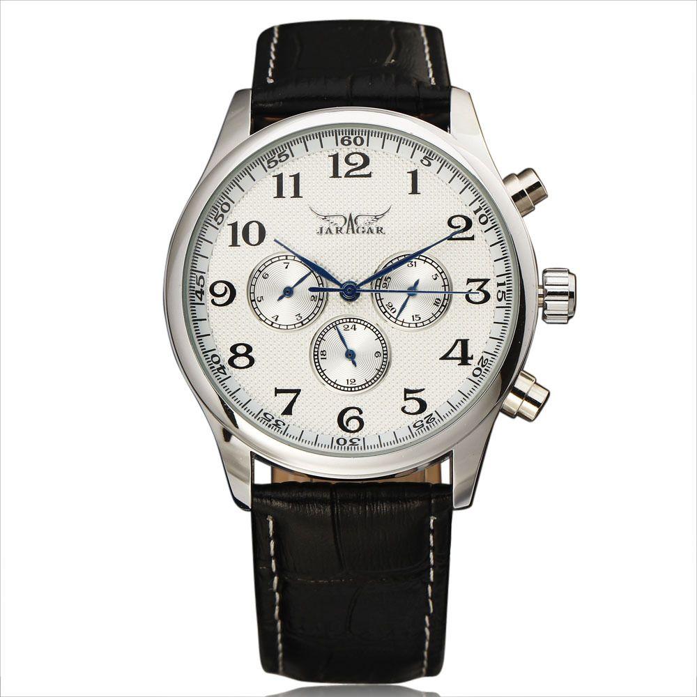 New Fashion JARAGAR Automatic Mechanical Self-Wind Sport Thin Case Calendar 24Hour Week Dial Real Leather Strap Men Wrist Watch
