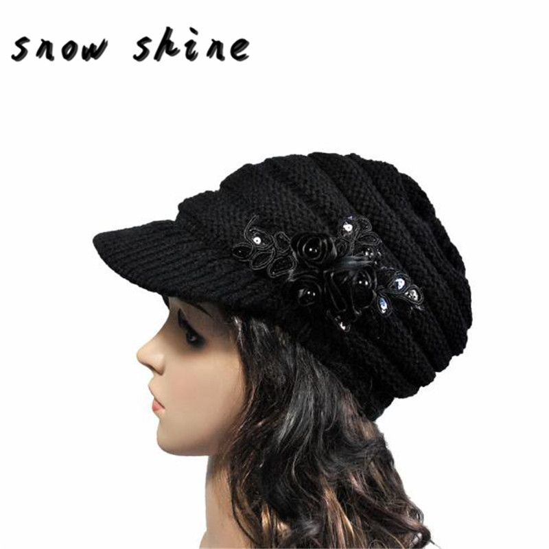 snowshine #5003  2016 Korean version of the new autumn and winter ladies hat brim Sequin applique FREE SHIPPING
