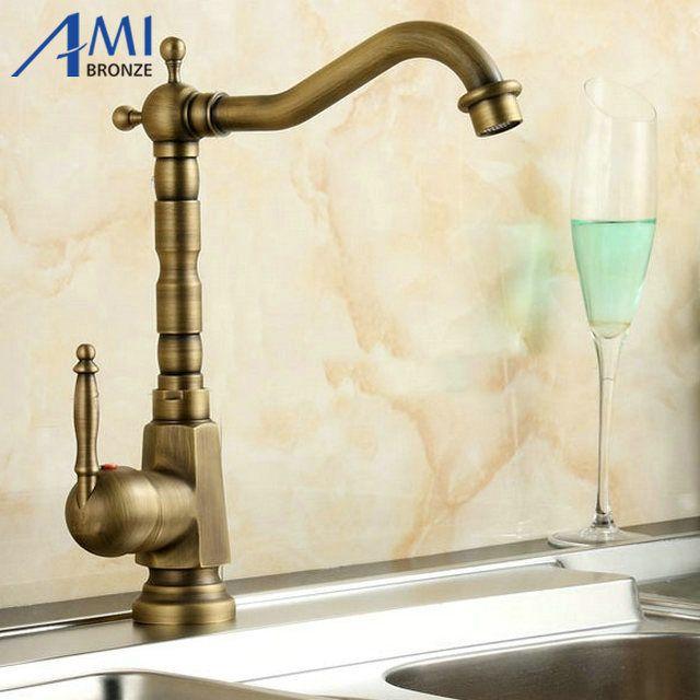Amibronze Home Improvement Accessories Antique Brass Kitchen Faucet 360 Swivel Bathroom Basin Sink Mixer Tap Crane