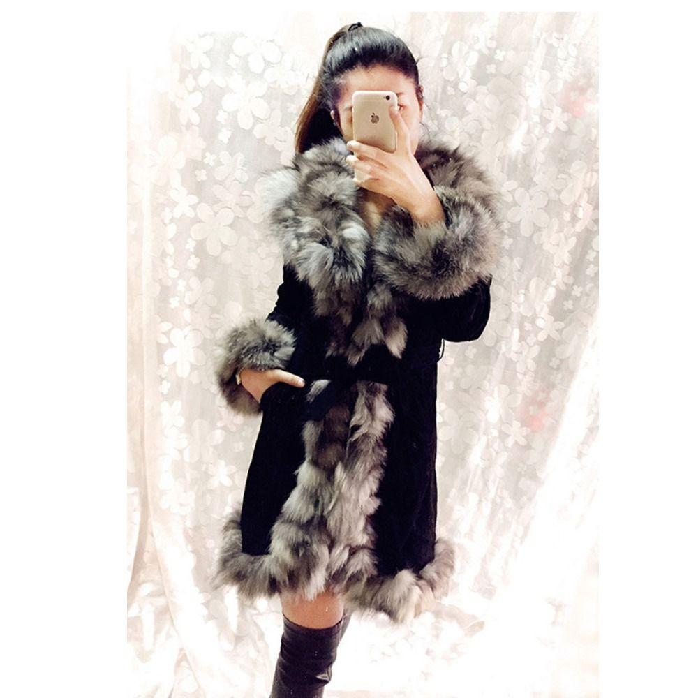 2018 china fabrik Großhandel Einzelhandel Winter weibliche Warmer genuine schwein leder mantel mit echt fox pelz kragen outwear frauen jacke